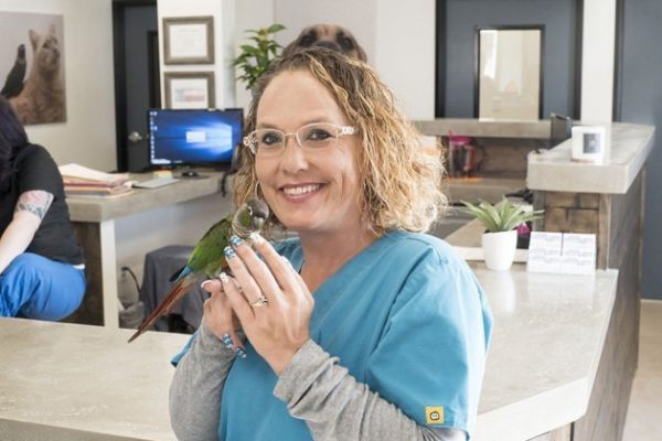 A team member holding a small green bird on her hand